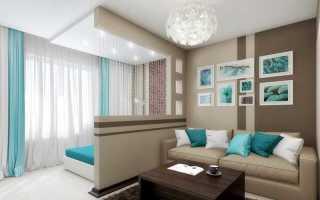 Зонирование комнаты на спальню и гостиную шторами