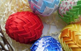 Пасхальное яйцо из атласных лент своими руками в стиле канзаши, техники простая и артишок