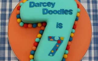 Торт на 7 лет девочке фото: цифра 7 из мастики