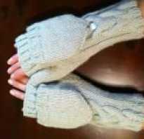 Варежки перчатки с откидным верхом спицами, вязаные полуперчатки