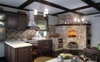 Современные печи и камины в доме фото — кухня с печным отоплением дизайн