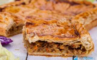 Постный пирог с капустой без дрожжей