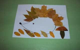 Поделки из кленовых листьев своими руками, ежик из кленового листа