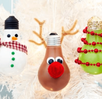 Елочные игрушки из лампочек своими руками, дед мороз поделка фото