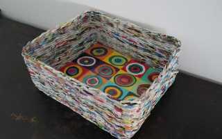 Плетение коробки из газетных трубочек