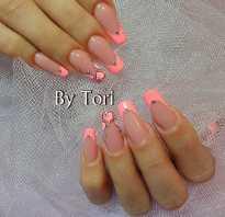 Оранжевый маникюр на короткие ногти: коралловый френч на ногтях фото